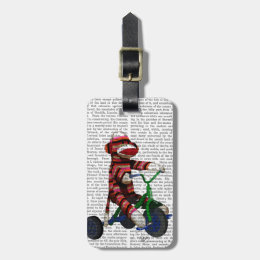 Sock Monkey on Tricycle Luggage Tag