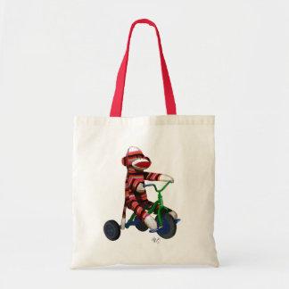 Sock Monkey on Tricycle Tote Bag