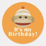 Sock Monkey Orange Birthday Stickers Kelly Schwark