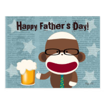Sock Monkey Papa Postcard