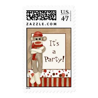 Sock Monkey, Party Invitation Postage