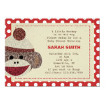 Sock Monkey party Invite-polka dots border 4.5x6.25 Paper Invitation Card