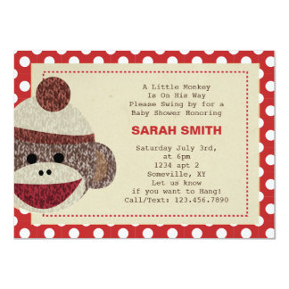 Sock Monkey party Invite-polka dots border Card