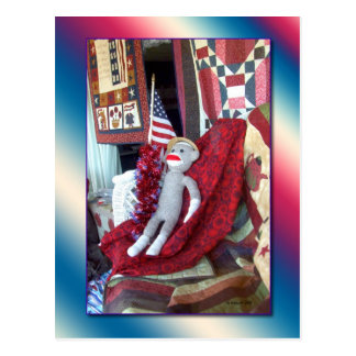 Sock Monkey Patriot Postcard