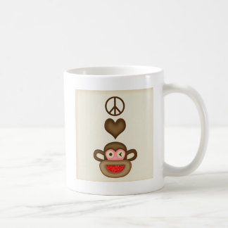 sock monkey peace coffee mug