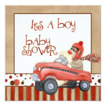 "Sock Monkey Pedal Car, Boy Baby Shower Invitation 5.25"" Square Invitation Card"