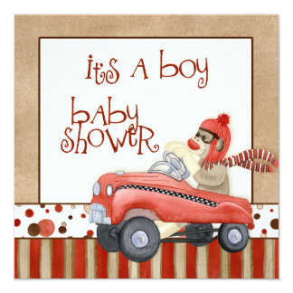 Sock Monkey Pedal Car, Boy Baby Shower Invitation
