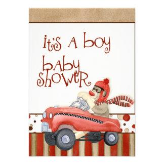 Sock Monkey Pedal Car Boy Baby Shower Invitation