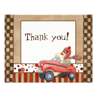 Sock Monkey Pedal Car Thank You Note Cards Custom Invitations