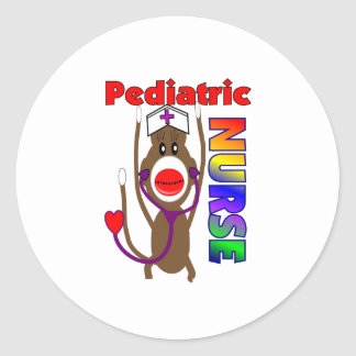 Sock Monkey Pediatric Nurse Gifts Classic Round Sticker
