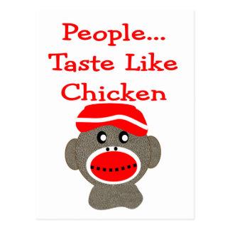 """Sock Monkey  """"PEOPLE TASTE LIKE CHICKEN"""" Postcard"""