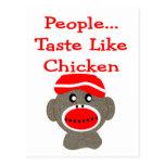 """Sock Monkey  """"PEOPLE TASTE LIKE CHICKEN"""" Postcards"""