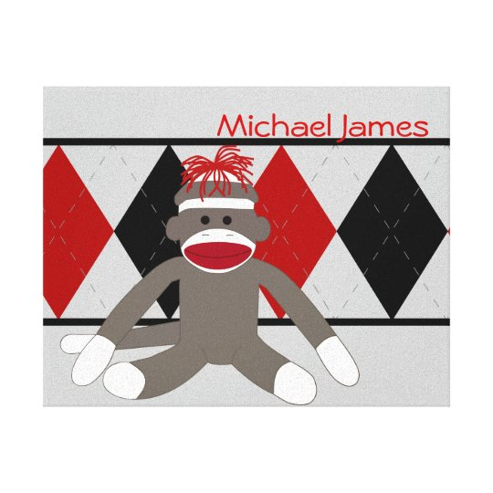 Sock Monkey Personalized Canvas Print