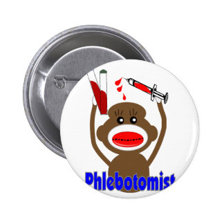 Sock Monkey Phlebotomist Gifts--Adorable 2 Inch Round Button