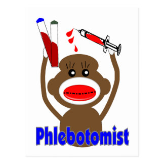Sock Monkey Phlebotomist Gifts--Adorable Post Card