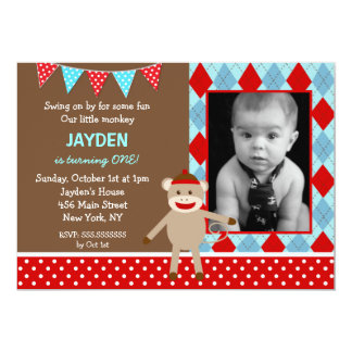 Sock Monkey Photo Birthday Party Invitations