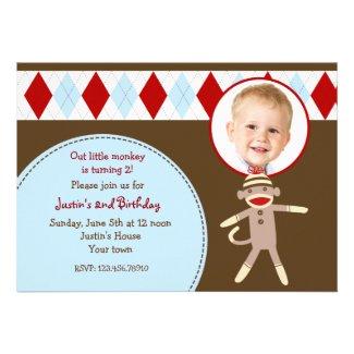 Sock Monkey Photo Birthday Party Invitations