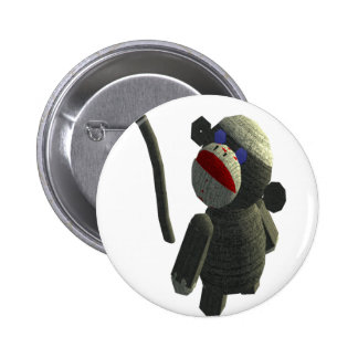 Sock monkey pinback button