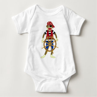 Sock Monkey Pirate Baby Bodysuit