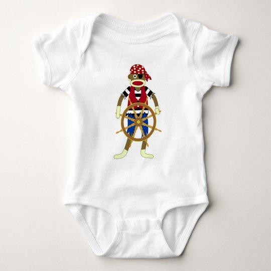 Sock Monkey Pirate Baby Bodysuit