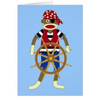 Sock Monkey Pirate Greeting Card