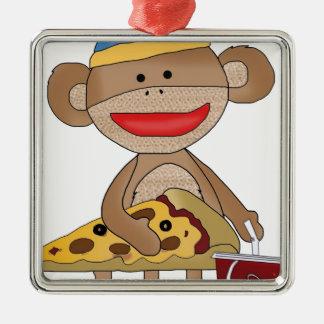 Sock monkey pizza and a soda metal ornament