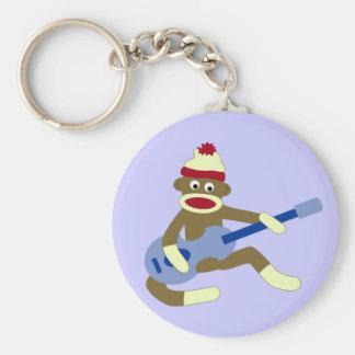 Sock Monkey Playing Blue Guitar Basic Round Button Keychain