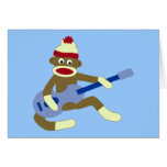 Sock Monkey Playing Blue Guitar Greeting Cards