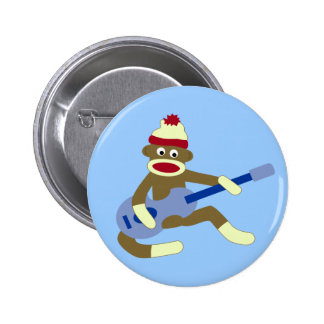 Sock Monkey Playing Blue Guitar Pinback Button