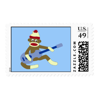 Sock Monkey Playing Blue Guitar Stamp