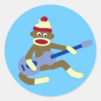 Sock Monkey Playing Blue Guitar Classic Round Sticker