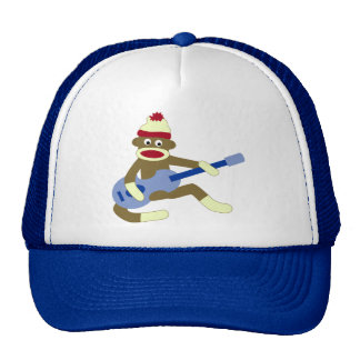 Sock Monkey Playing Blue Guitar Trucker Hat