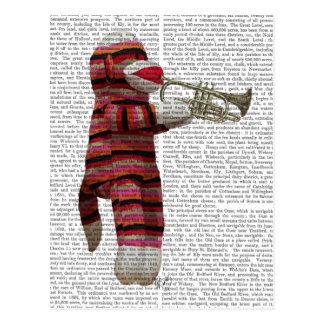 Sock Monkey Playing Trumpet Postcard