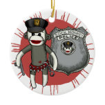 Sock Monkey Police Ceramic Ornament