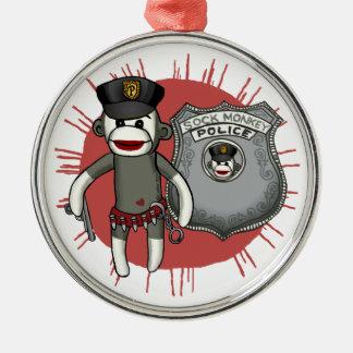 Sock Monkey Police Christmas Ornaments