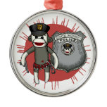 Sock Monkey Police Premium Round Ornament