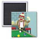 Sock Monkey Pool Billiards Player 2 Inch Square Magnet