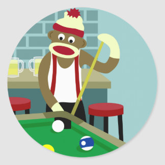 Sock Monkey Pool Billiards Player Classic Round Sticker