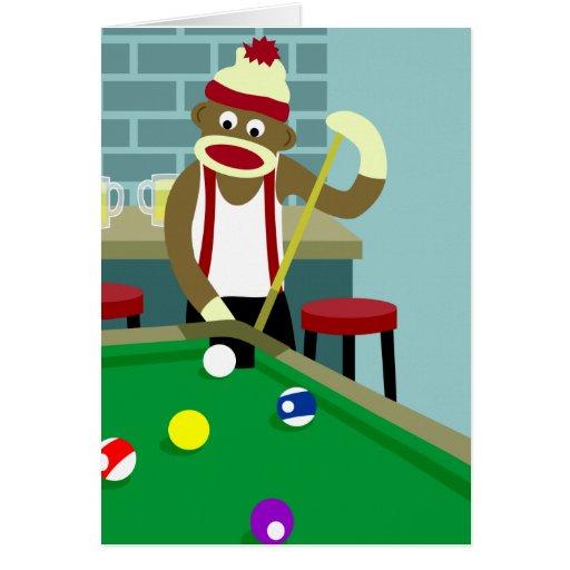 Sock Monkey Pool Billiards Player Greeting Card