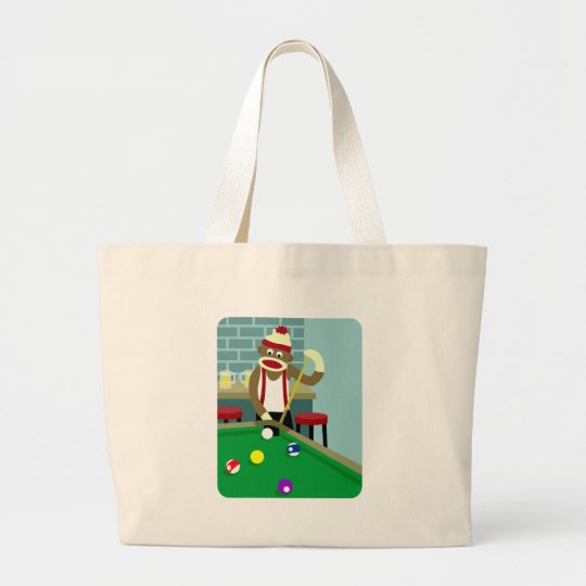 Sock Monkey Pool Billiards Player Large Tote Bag