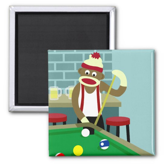 Sock Monkey Pool Billiards Player Magnet