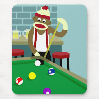 Sock Monkey Pool Billiards Player Mouse Pad