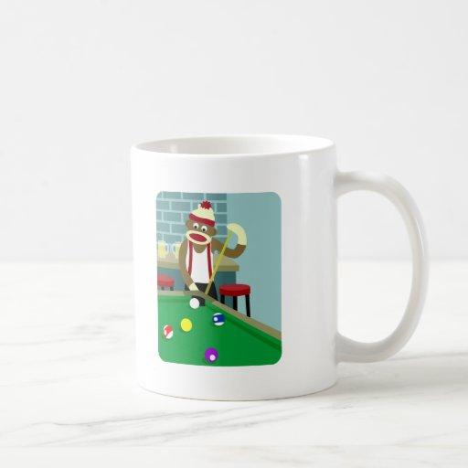 Sock Monkey Pool Billiards Player Classic White Coffee Mug