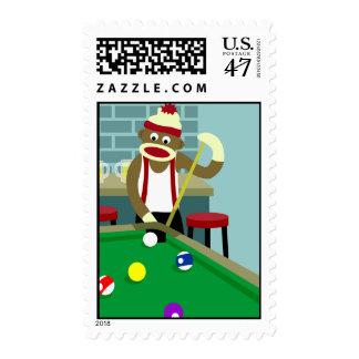 Sock Monkey Pool Billiards Player Postage