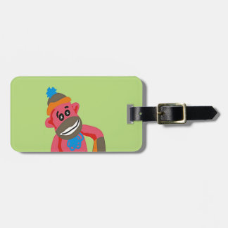Sock Monkey Pop Art Add Name Text Bag Tag