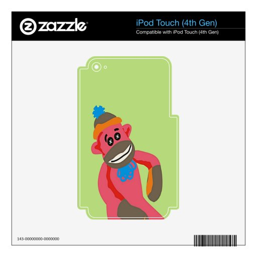 Sock Monkey Pop Art Add Name Text Skins For iPod Touch 4G