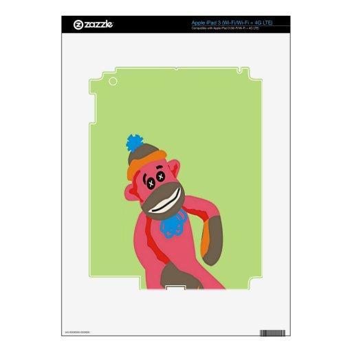 Sock Monkey Pop Art Add Name Text iPad 3 Decals