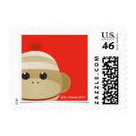 Sock Monkey Postage Stamp Red