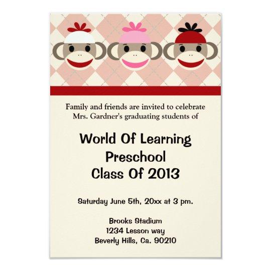 sock monkey preschool or kindergarten graduation invitation zazzle com