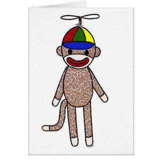Sock Monkey Propeller Hat Card